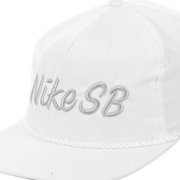 21b1014d796 New Nike SB White snapback hat skateboard